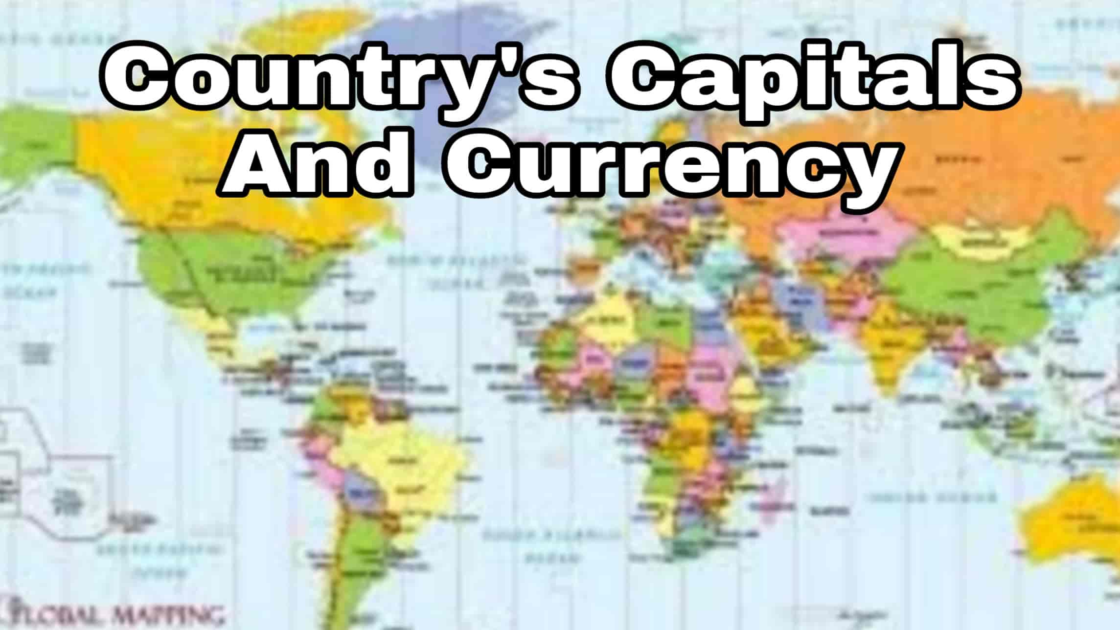 GK Countries Capitals and Currency Quiz Multiple Choice