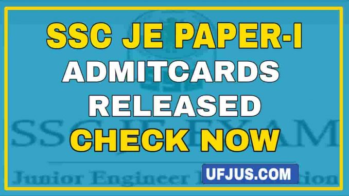 SSC JE 2020 Paper-I Admitcards Released