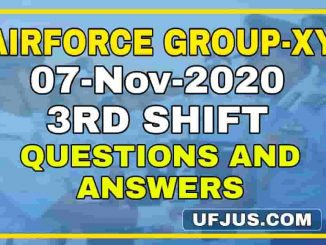 7th Nov 2020 3rd Shift Airforce Group-XY Exam