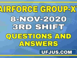 8th Nov 2020 3rd Shift Airforce Group-XY Exam