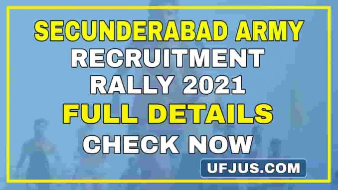 Secunderabad Army Recruitment Rally 18 January 2021