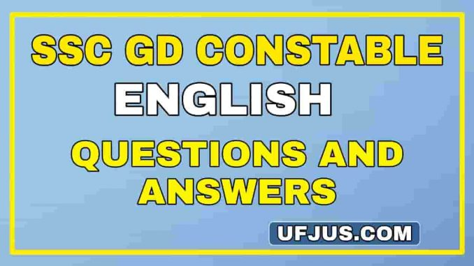 SSC GD English Most Important Previous Papers