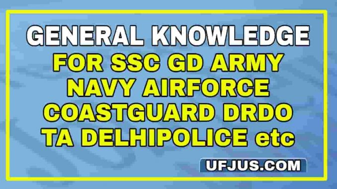 General Knowledge For Navy Airforece Coastguard SSC GD Army TA
