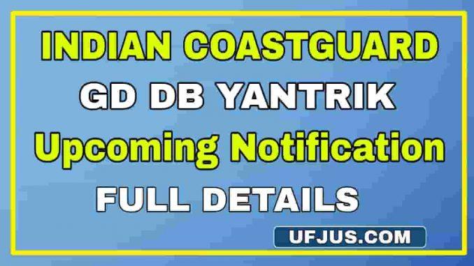 Indian Coastguard DB GD Yantrik Notification 2021